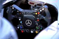 McLaren cockpit with fitted steering wheel