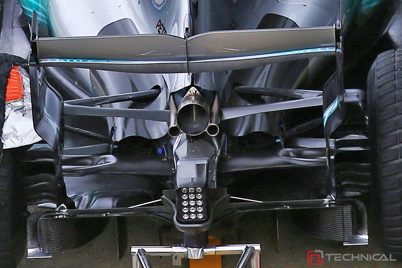 mercedes amg f1 w08 diffuser detail photo gallery. Black Bedroom Furniture Sets. Home Design Ideas