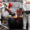 Alonso in the Renault pits