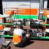 Force India front wings on display in the pitlane