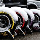 Pirelli tyres covered in snow