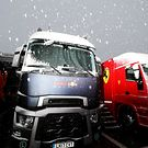 Red Bull Racing truck with snow