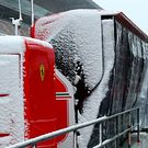Ferrari pit gantry with snow