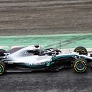 Valtteri Bottas running the W09 for the first time at Silverstone
