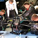 Mercedes AMG F1 W11 worked on by mechanics