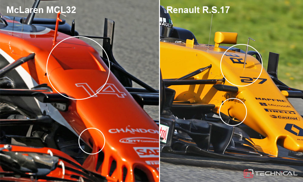 S-duct designs on McLaren MCL32 and Renault RS17