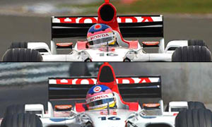 At top: revised BAR as Silverstone - Under: BAR at Monaco