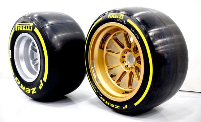 13 inch F1 tyre vs 18 inch tyre concept