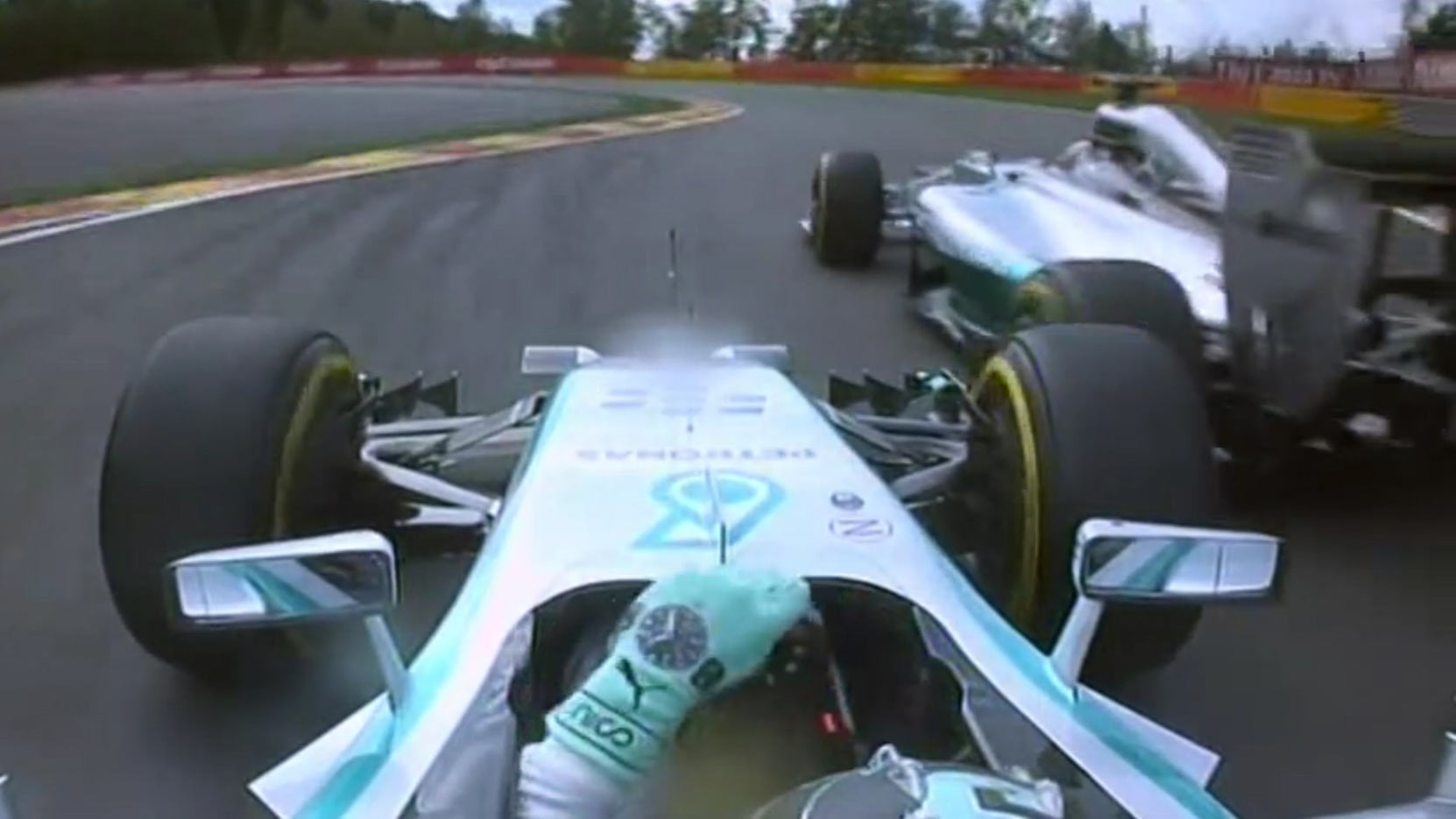 Hamilton and Rosberg come together on lap 2 of the Belgian GP 2014