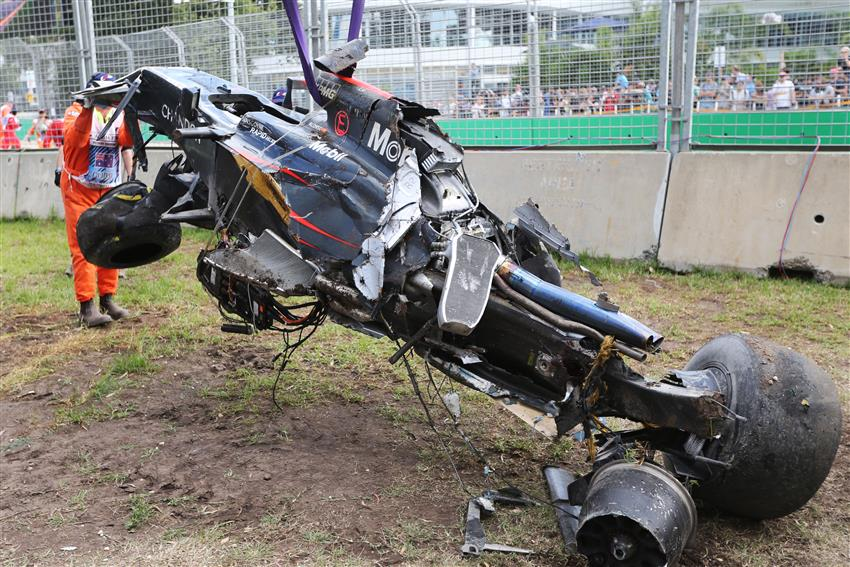 Crashed {McLaren} MP4-31 of Fernando Alonso